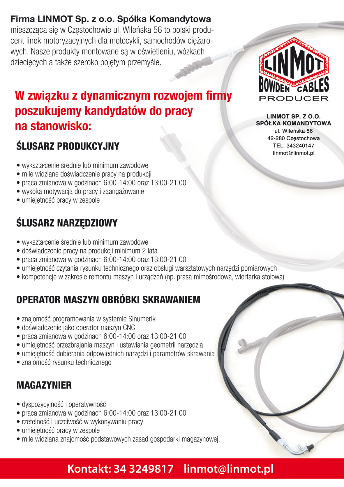 Plakat Linmot Bowden Cables Producer oferta pracy